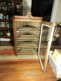 1800s Early Store Display Corner Cabinet With Glass Door Sits or Hangs 43h