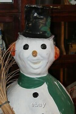 1930-40s Vintage Snowman Window Store display Character Statue Christmas Decor