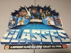 1983 Burger King Star Wars Rotj Glasses store display ESTATE FIND LOOK