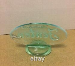 1990s Fenton Ice Green Opalescent Glass Dealer Display Logo Store Shelf Sign