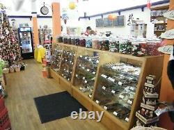 2 6' Oak Slanted Glass Candy Display Counters