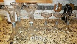 7 Antique Vtg General Store Display Corseted Glass Shelf Support Risers Stands