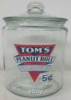 A RARE Tom's Peanut Rolls 5¢ Glass Counter Jar