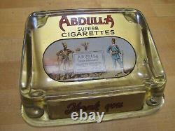 ABDULLA CIGARETTES Old Tobacco Ad ROG Glass Change Receiver Tray Cigar Sign Card