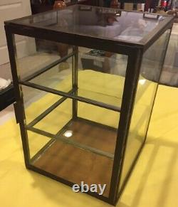 ANTIQUE DISPLAY CASE-TIN/GLASS COUNTER TOP STORE CASE FOR PIES With2 GLASS SHELVES