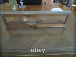 Antique 1930s Oak and Glass Slant Front County Store Counter Top Display Case
