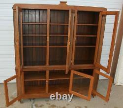 Antique 2 Piece Oak Store Display Cupboard Pharmacy Pantry Gun Cabinet Vintage