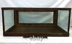 Antique 33 Oak Wavy Glass Spring Door General Store Apothecary Display Case