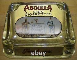 Antique ABDULLA CIGARETTES Tobacco Ad ROG Glass Change Receiver Tray Sign Card