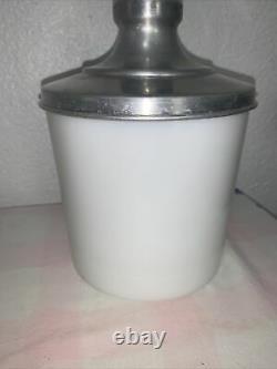 Antique Carnation Malted Milk Counter Milk Glass Jar