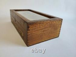 Antique Clarks Store Display Wood Glass Box O. N. T. Marking Cotton EXCELLENT