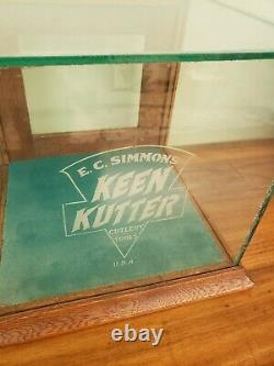 Antique E C Simmons Keen Kutter Glass Wood Hardware Store Display Cutlery Tools