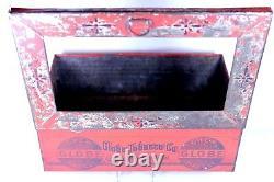 Antique GLOBE Chew Fine Cut Tobacco Tin Store Display Bin GLASS View Top DETROIT