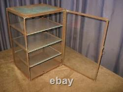 Antique General Store Counter Display Cabinet Display Case w Glass Shelfs Metal