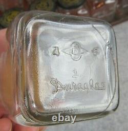 Antique Glass Jars Metal Shelf Garage Gas Station Shop Advertisement Display