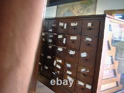 Antique OAK Wood & Glass Mercantile Store Showcase 8' long Display, 55 Drawers