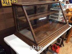 Antique Oak Country Store Display Cabinet, 2 Tier, Orig Glass
