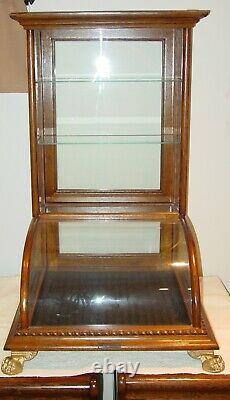 Antique Oak curved glass table top counter top showcase-15621