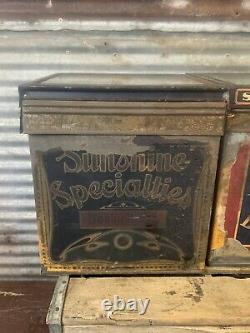 Antique Pair Vtg Loose Wiles Sunshine Biscuit Store Display Tin Box with Glass Lid