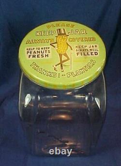 Antique Planters Peanut Glass Jar Metal Lid Store Display Streamline Mr. Peanut