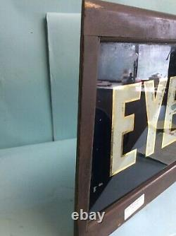 Antique Reverse Painted Glass Optometrist Sign for Eye Glasses 46L