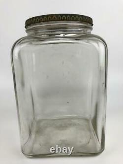 Antique SQUIRREL BRAND Peanuts Glass Store Display Jar Metal Lid Cambridge MA #1