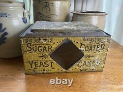 Antique Store Display TIN Hinged Lid Litho With Glass Sugar Coated Yeast Cakes