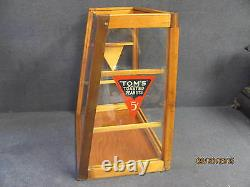 Antique Tom's Toasted Peanuts Wood Glass Store Sales Display POS