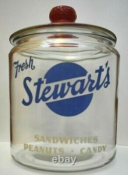 Antique/Vintage Stewarts Fresh Sandwiches Peanuts Candy Glass Store Display Jar