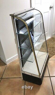 Antique Vtg Curved Glass Wood Display Case Shelves Store Showcase Cabinet