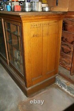 Antique Wood Glass Mercantile Store Showcase Display Cabinet 2 Vintage Barn Find