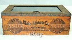 Antique vtg GLOBE Tobacco Detroit Store Display TIN Glass Lid Ginna Litho NY