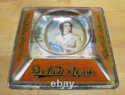 BETSY ROSS CIGARS Old Advertising Glass Change Receiver Tray Sign Brunhoff Ohio