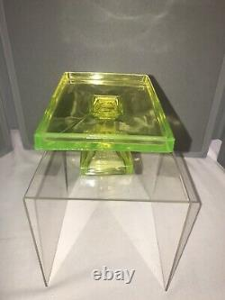 Clarks Teaberry Gum Uranium Vaseline Glass Footed Stand Store Display c. 1920s