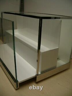 Coach Glass Tabletop Slide Out White Display Case Two Tier Display Cabinet