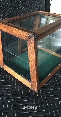 Early 1900s Antique Oak Slant Front Display Case Glass Shelf and Sliding Doors