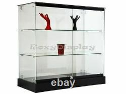 Glass Display Tower Black Base Store Fixture Knocked Down #SC-GS36B