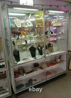 Glass Store Display Showcase Lighted Mirror Back Glass Shelves 82.5x69.5x18.5 in