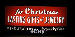 JACQUES KREISLER MENS JEWELRY CHRISTMAS GIFTS Reverse Glass Lighted Store Sign
