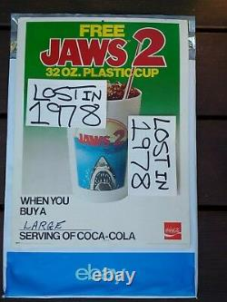 JAWS 2 Coca Cola Coke Theater Store Display Poster Vintage Cup Glass Star Wars