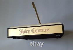 Juicy Couture 1 Piece Logo Display In Silver Wood With Glass Sides