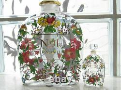 LAURA ASHLEY Vintage No1 Enamel Floral Giant Factice Store Display Glass Bottle
