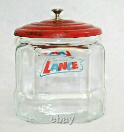Lance Advertising Glass Cracker Cookie Jar Store Display 6.5 Rare Vtg S9734