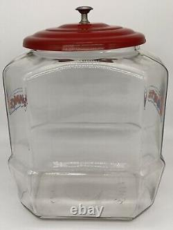 Lance Glass Octagon Cracker Cookie Jar Store Counter Display. 12x9x8 GREAT