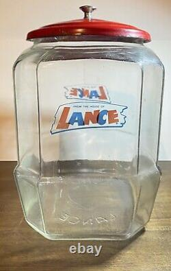 Lance Glass Octagon Cracker Cookie Jar Store Counter Display With Red Lid 10 1/2in