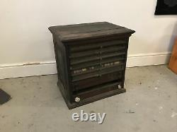 Large CORTICELLI Antique Glass Drawer Spool Cabinet Rare Store Display Wood silk
