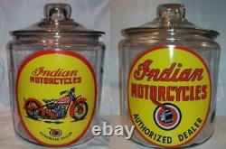 Lot of 2 Indian Motorcycle Glass Counter Jars # 2