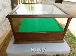 OAK ORIGINAL GLASS SHOWCASE & CASH DRAWER Country Store Counter Top Display CASE