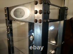 Oakley Stretchline Tall Glass Display Case Cabinet 6' Rust Riveted Storage Shelf