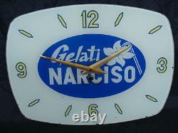 Orologio Promozionale Gelati Narciso In Vetro Glass Old Bar Italy